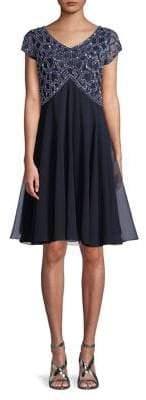 J Kara Embellished Illusion-Sleeve A-Line Dress