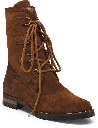 Made In Italy Lace Up Suede Boots
