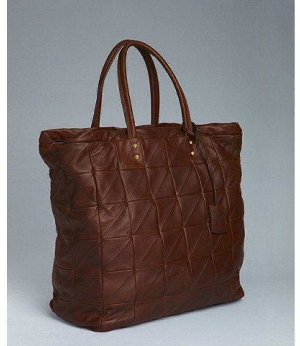 Yves Saint Laurent brown lambskin quilted 'New Rive Gauche' bag