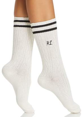 Ralph Lauren Stripe-Cuff Cable Knit Socks