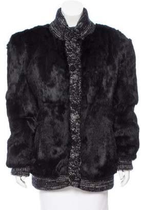 Knit Trimmed Rabbit Fur Coat