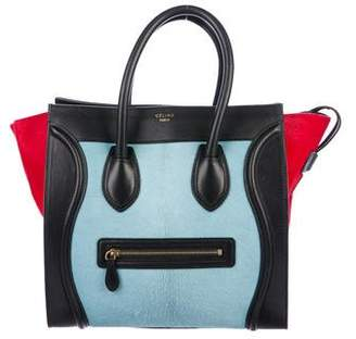 Celine Tricolor Ponyhair Mini Luggage