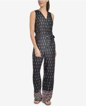 NY Collection Printed Surplice Jumpsuit