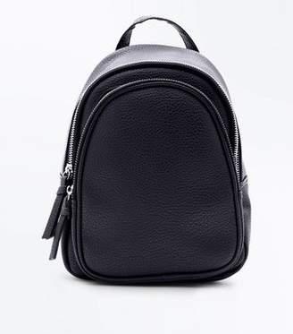 New Look Black Double Zip Around Mini Backpack