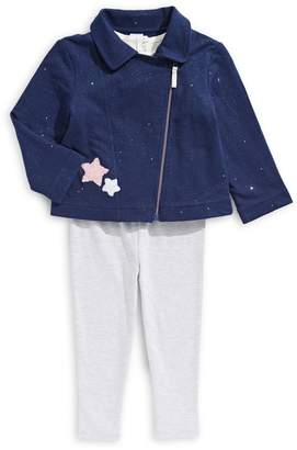 Little Me Baby Girl's 3-Piece Star Moto Jacket Leggings Set