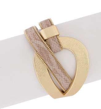 Saachi Loop Chain Trimmed Reptile Embossed Faux Leather Wrap Bracelet