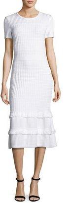 St. John Collection Illusion Grid Knit Short-Sleeve Midi Dress, White $1,295 thestylecure.com