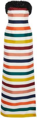 Carolina Herrera (キャロリーナ ヘレラ) - Carolina Herrera ストラップレス 装飾付き ストライプ コットン&シルク混サテン ロングドレス