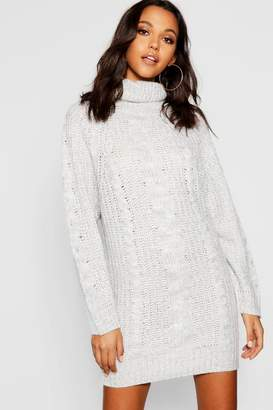 boohoo Cable Knit Roll Neck Jumper Dress e89ba4ec9