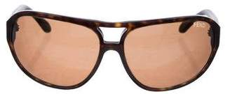 Fendi Leather-Trimmed Sunglasses