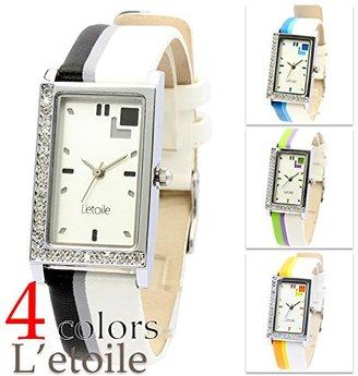 L'etoile レトワール FV12 近未来的な印象を与えるバイカラーウォッチ レザーベルト ユニセックス 腕時計 【保証書付】