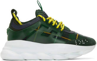 Versace Green and Yellow Plaid Chain Reaction Sneakers