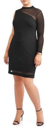 Love Squared Women's Plus Size One Shoulder Mesh Little Black Dress