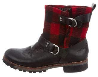 Woolrich Moto Plaid Leather Ankle Boots