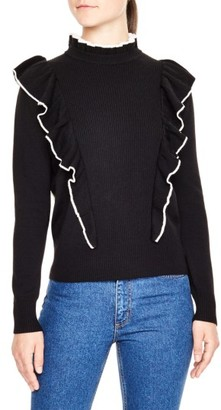 Women's Sandro Ruffle Turtleneck Sweater $295 thestylecure.com
