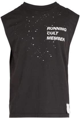Satisfy Cult Distressed Cotton T Shirt - Mens - Black