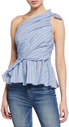 A.L.C. Soraya One-Shoulder Striped Peplum Blouse
