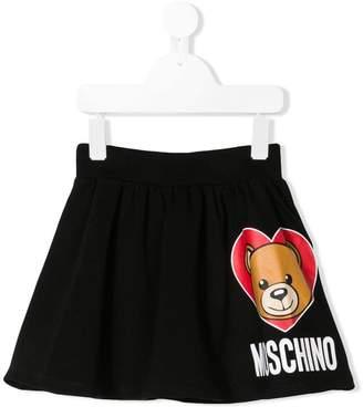 Moschino Kids teddy heart logo skirt