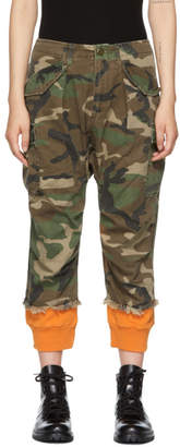 R 13 Green and Orange Camo Harem Cuffs Cargo Trousers