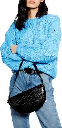 Topshop Petal Hand Knit Crop Sweater
