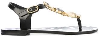 Dolce & Gabbana shell embellished flat sandals