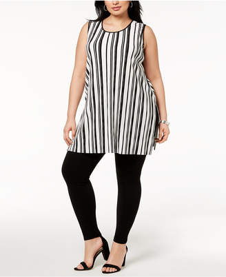 Alfani Plus Size Striped Split-Hem Tunic, Created for Macy's