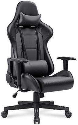 Homall Gaming Chair Carbon Fiber Style Design Pu Leather Bucket Seat Racing Style Seat Gaming Chair w/Headrest Cushion and Lumbar Support Cushion (Black-S1)