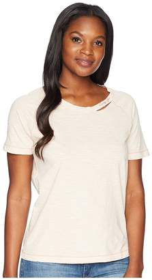 Lucky Brand Embroidered Lucky You Destructed Tee Women's T Shirt
