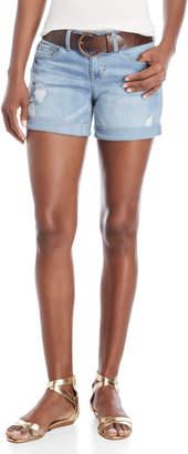 Dollhouse Denim Belted Roll Cuff Shorts