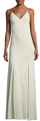 Ralph Lauren Augustina V-Neck Sleeveless Pintucked Evening Gown