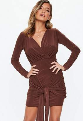 Missguided Chocolate Slinky Drape Tie Mini Dress