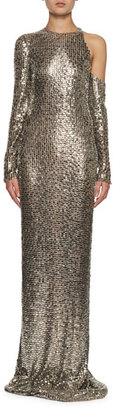 Long-Sleeve Square-Embroidered Gown, Gray