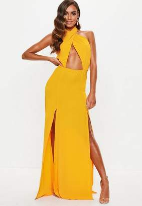 Missguided Yellow Cut Out Tie Front Maxi Dress