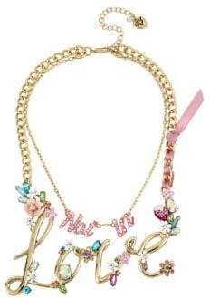 Betsey Johnson Blooming Not In Love Double Pendant Necklace