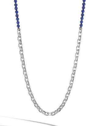 John Hardy Men's Classic Chain Link Necklace w/ Lapis Beads, 28""