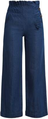 TEIJA Pleated-trim high-waisted denim trousers