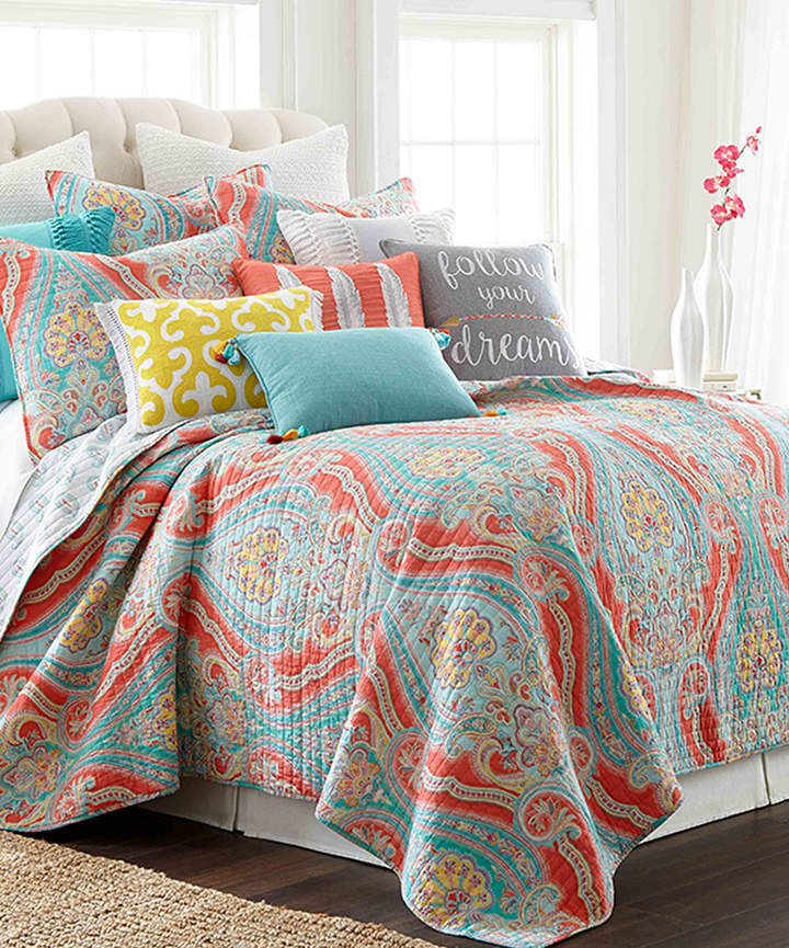 Teal & Coral Geometric Quilt Set