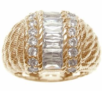 Judith Ripka Sterling/14K-Clad Channel-Set Baguette Dome Ring
