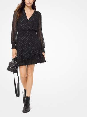 MICHAEL Michael Kors Dot Jacquard Ruffled Dress
