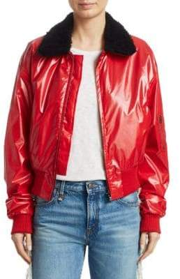 R 13 Cropped Nylon Flight Jacket