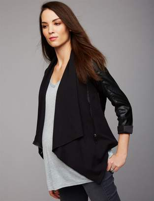 Blank NYC Zip Front Faux Leather Maternity Jacket