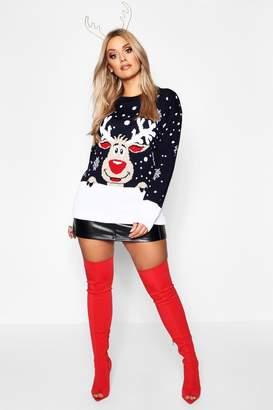 boohoo Plus Reindeer Snowflake Christmas Jumper