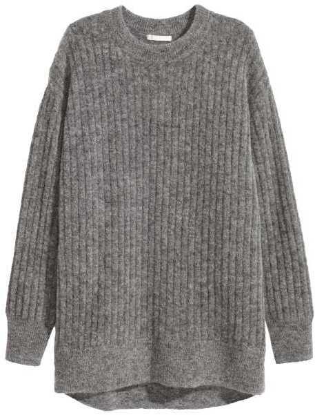 H&M - Oversized Mohair-blend Sweater - Black melange - Ladies