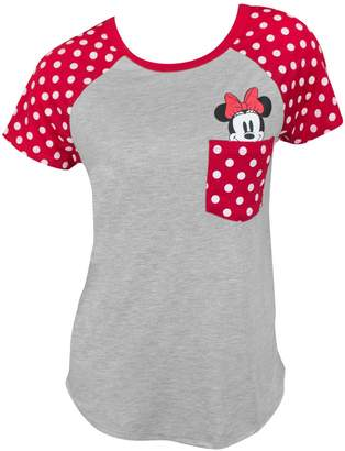 Disney Junior T-Shirt Minnie Mouse Peeking Out of Pocket Print Tee (XL)