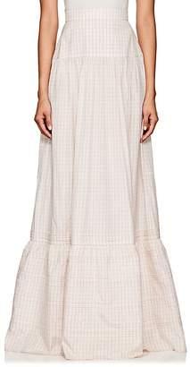 Calvin Klein Women's Grid-Print Silk Maxi Skirt