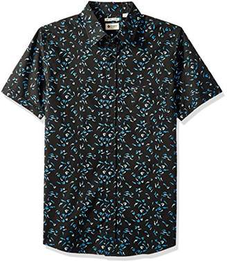 Haggar Men's Short Sleeve Micrographic Prints Woven Shirt