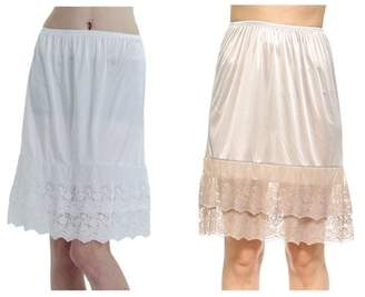 Melody Women's Double Layered Satin Skirt Extender / Half Slip Lingerie 2 Pieces Combo Pack