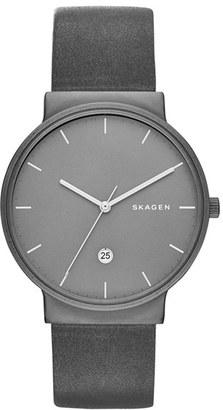 Skagen Ancher Round Leather Strap Watch, 40Mm $175 thestylecure.com