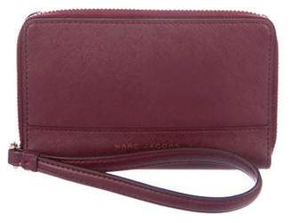 Marc Jacobs Saffiano Zip Leather Phone Wristlet
