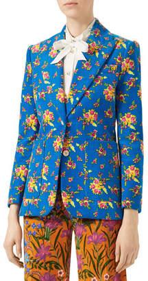 Gucci Bouquet Print Corduroy Jacket, Turquoise